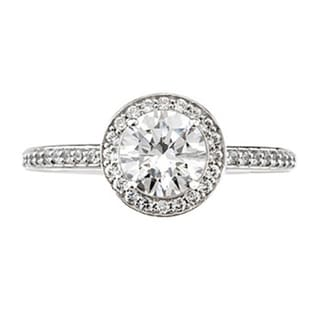 14k White Gold Classic 1ct TDW Diamond Round Halo Vintage-style Engagement Ring (G-H, I1-I2)