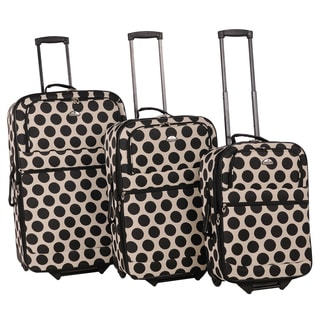 American Flyer Panda Collection 3-piece Polka-dots Luggage Set