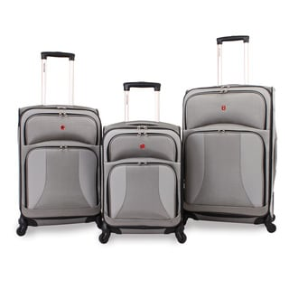 SwissGear Pewter 3-piece Expandable Spinner Luggage Set