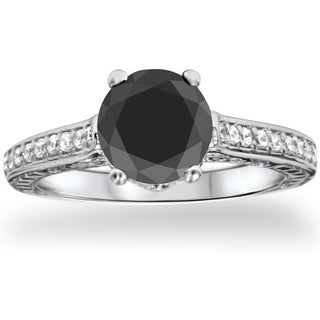 14k White Gold Large 2 3/4ct TDW Black and White Diamond Vintage Engagement Ring (G-H, I1-I2)