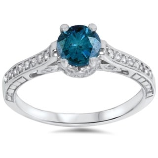 14k White Gold 1 1/4ct TDW Round Brilliant-cut Blue Diamond Vintage-style Engagement Ring (G-H, I1-I2)
