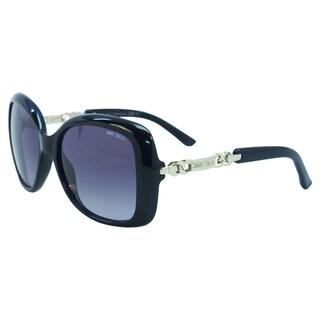 Jimmy Choo Women's Wiley/S 0BMB Shiny Black Plastic Oversized Sunglasses