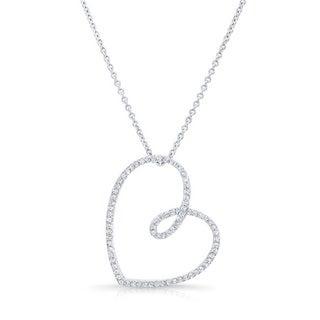 Platinum Over Silver 1/2ct TDW Diamond Heart Necklace (H-I, I1-I2)