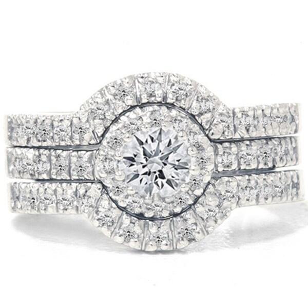 14k White Gold 1 1/4ct TDW Diamond Halo Bridal Ring Set (I-J, I2-I3)