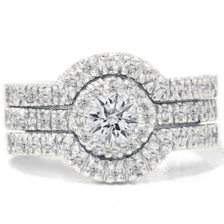 14k White Gold 1 1/4ct TDW Round Diamond Halo Bridal Ring Set (G-H, I1-I2)