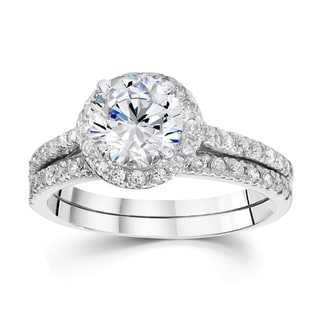 Bliss 14k White Gold 1 5/8ct TDW Halo Diamond Bridal Set