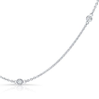 Platinum Over Silver 3/4ct TDW By the Yard Diamond Station Necklace (H-I, I1-I2)
