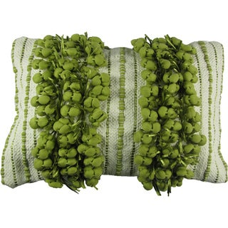 Decorative Green Fringe Down Filled Throw Pillow