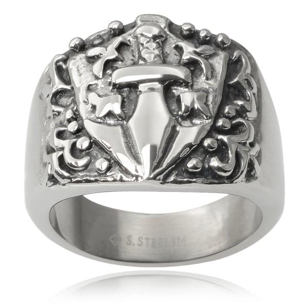 Vance Co. Men's Stainless Steel Sword Shield Ring