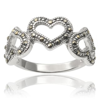 Journee Collection Brass Created Marcasite Heart Ring
