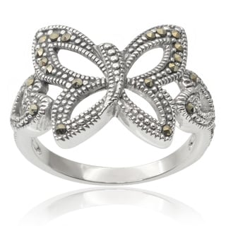 Journee Collection Brass Created Marcasite Butterfly Ring