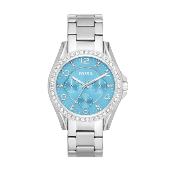 Fossil Women's ES3529 Riley Blue Dial Silvertone Stainless Steel Watch