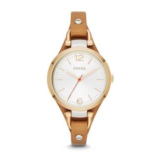Fossil Women's ES3565 Georgia Analog Display Analog Quartz Brown Watch - Gold