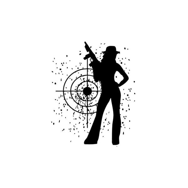 Mafia Girl with Target Vinyl Wall Art