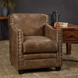 Christopher Knight Home Lodge Saddle Leatherette Nailhead Trim Accent Club Chair
