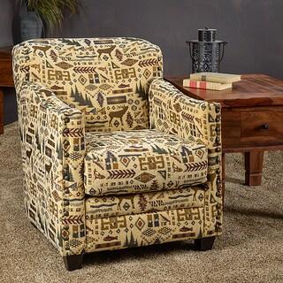 Somette Lodge Cream Fabric Nailhead Trim Accent Club Chair