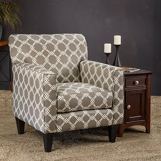 Somette Eli Metro Grey Fabric Track Arm Accent Club Chair