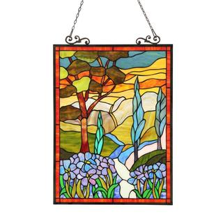 Tiffany Style Country Scene Design Rectangular Stained Glass Window Panel