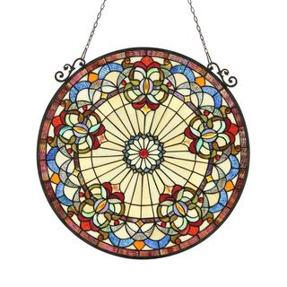 Tiffany Style Victorian Round Design Stained Glass Window Panel