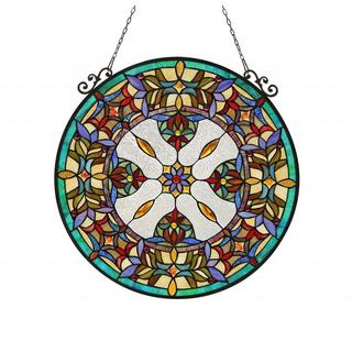 Tiffany Style Victorian Design Round Stained Glass Window Panel