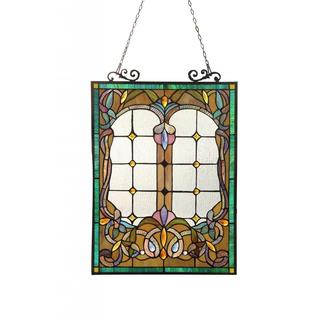 Tiffany Style Victorian Design Rectangular Stained Glass Window Panel