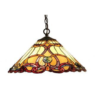 Tiffany-style Victorian Design Dark Antique Bronze 2-light Pendant