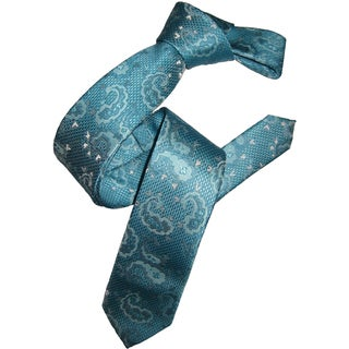 Dmitry Men's Turquoise Italian Silk Patterned Skinny Tie