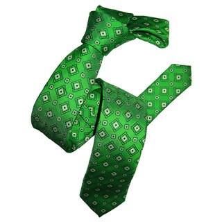 Dmitry Men's Green Italian Silk Patterned Skinny Tie