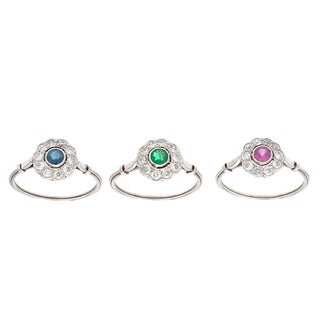 Pre-owned Platinum 3/4ct TDW Antique Three Ring Set (H-I, SI1-SI2)