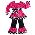 AnnLoren Girl's Hot Pink Floral Blossom and Black / White Lattice Outfit
