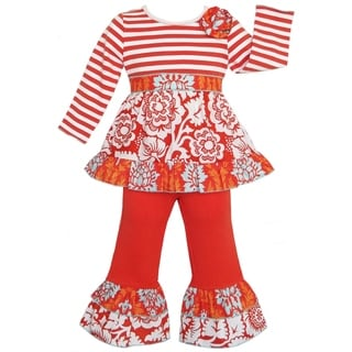 AnnLoren Girl's Boutique Autumn Orange Floral and Stripes Outfit