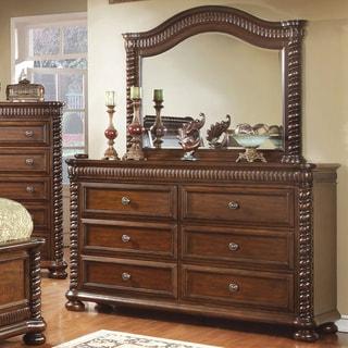 Furniture of America Dragia Brown Cherry 2-Piece Dresser and Mirror Set