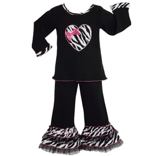 AnnLoren Zebra Heart Tunic and Jersy Pants with Zebra and Tulle Outfit