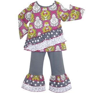 AnnLoren Girl's Darling Damask, Cheetah and Polka-dot Outfit
