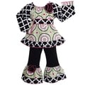 AnnLoren Girl's Peasant Style Medallion and Lattice Tunic and Knit Pants Outfit