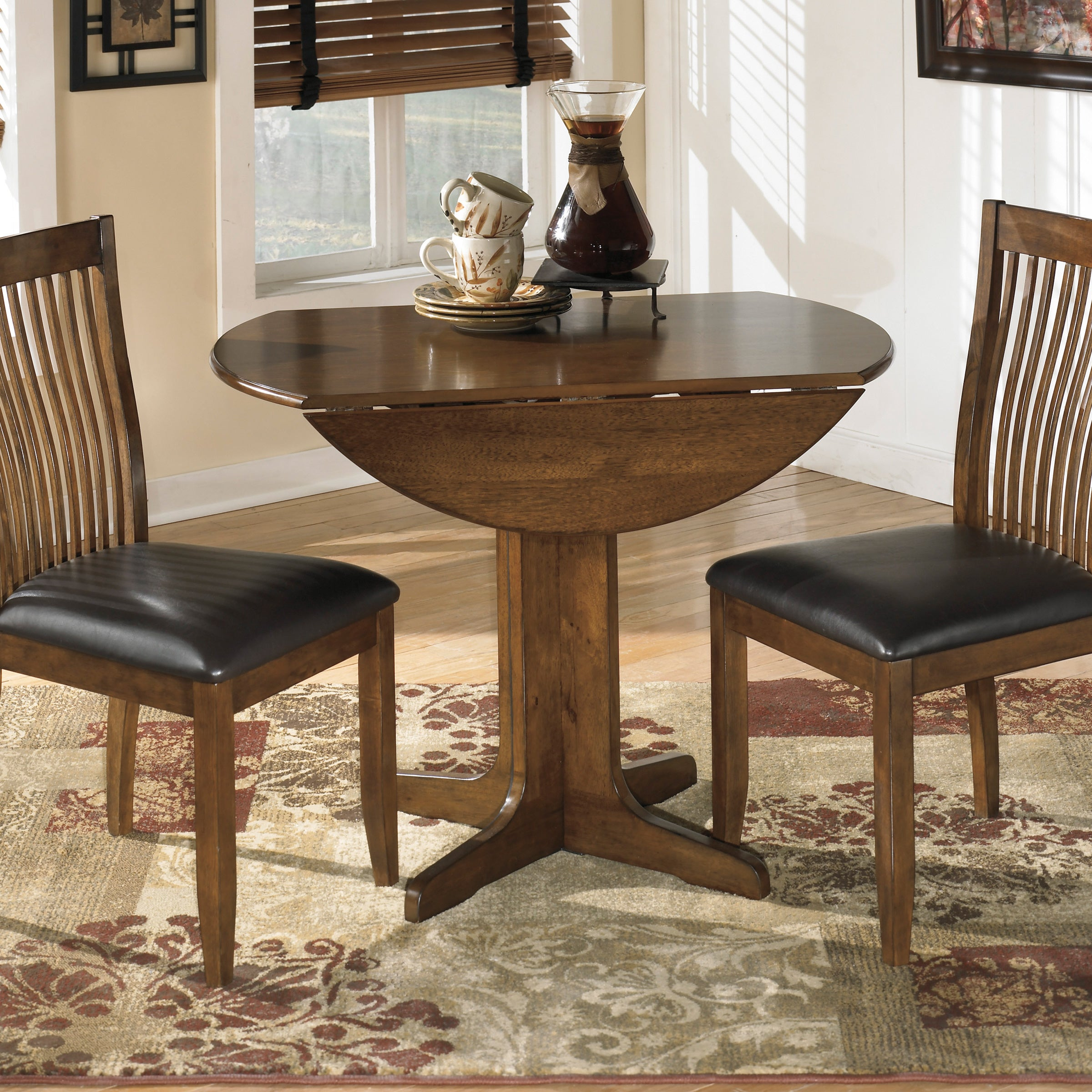 signature designs by ashley stuman round drop leaf table overstock