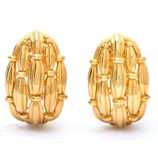 Tiffany & Co 18k Yellow Gold Basket Weave Clip Earrings