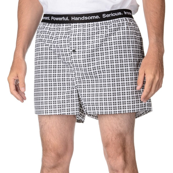 Nick Graham Men's Black and White Plaid Print Woven Boxers