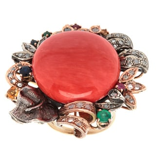 14k Yellow Gold 2/3ct TDW White Diamond and Gemstone Giant Coral Floral Antique Ring (N-O, I2-I3)