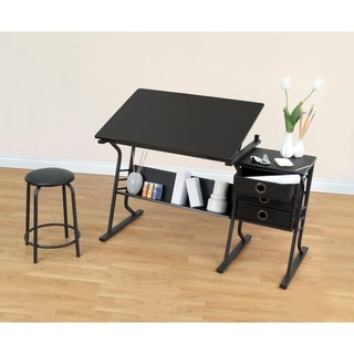 Studio Designs Eclipse Drafting and Hobby Craft Center Table with Stool