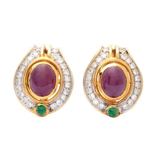 18k Yellow Gold 1ct TDW Estate Ruby Clip Earrings (G-H, SI1-SI2)