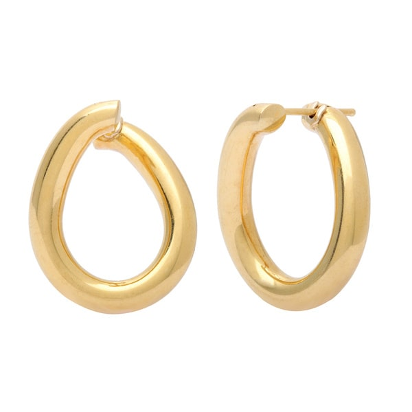 Pre-owned Neiman Marcus 18k Yellow Gold Cordova Hoop Earrings