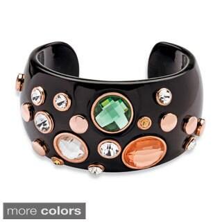 PalmBeach Crystal Studded Black or Ecru Lucite Cuff Bracelet Bold Fashion