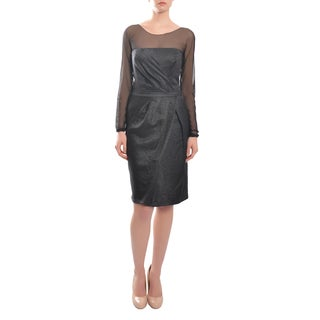 Escada Women's Classic Style Pleated Long Sleeve Illusion Cocktail Dress