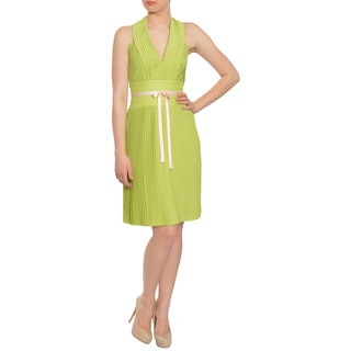 Escada Women's Feminine Pleated Halter Cocktail Evening Dress