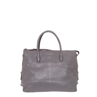 Miu Miu Madras Side Zip Leather Tote Handbag