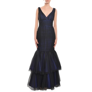 Monique Lhuillier Women's V-neckline Tiered Trumpet Gown Dress