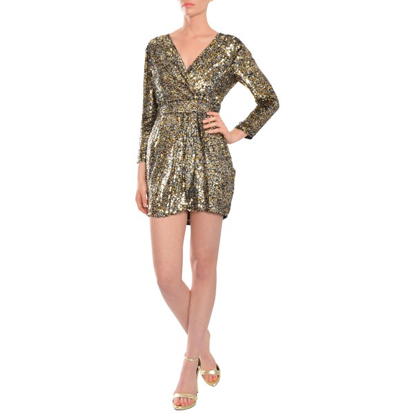 Parker Women's Sequin Faux Wrap Cocktail Evening Dress
