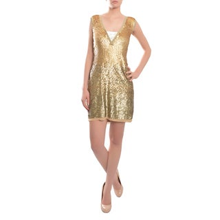 Tory Burch Women's Shimmering Sequins V-neck Cocktail Evening Dress