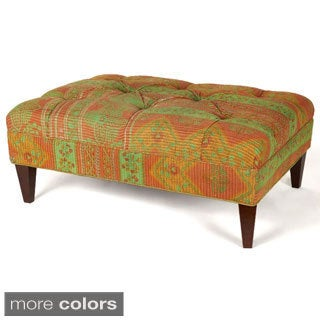 Vintage Kantha Tufted Rectangle Ottoman